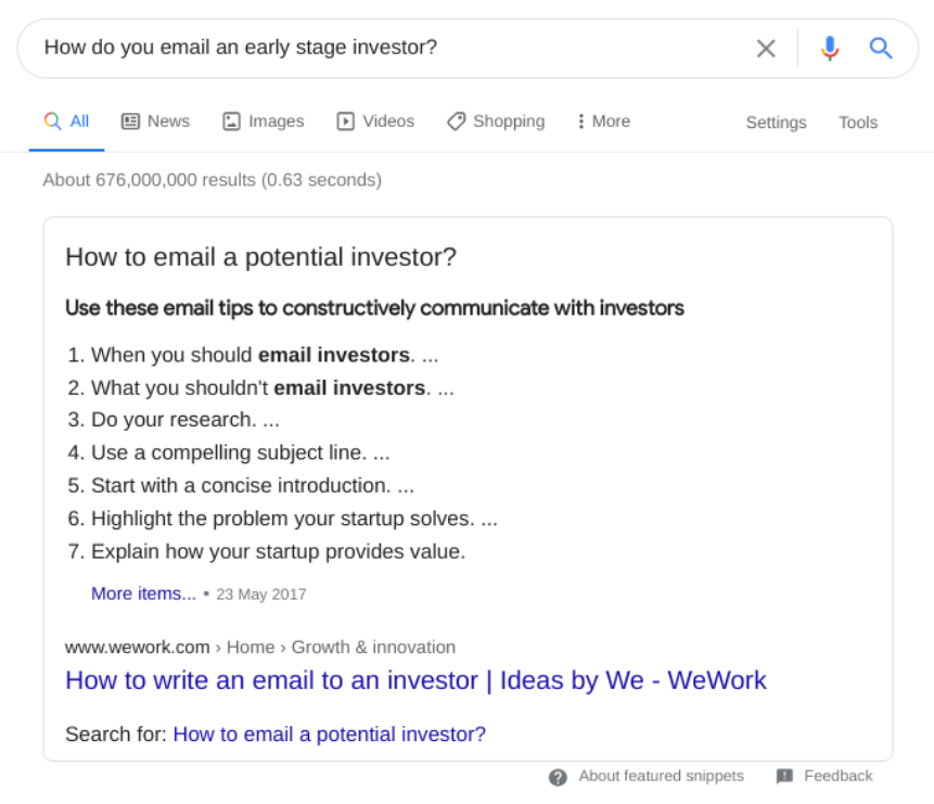 Featured snippet for 'how to email a potential investor'