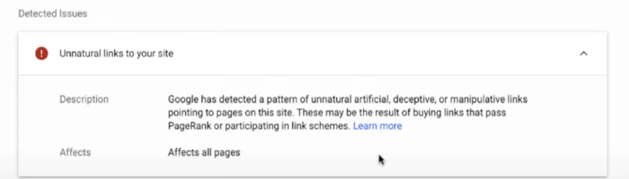message from Google about penalty