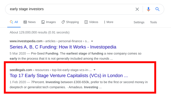 Investment guest blogging example in Google search results