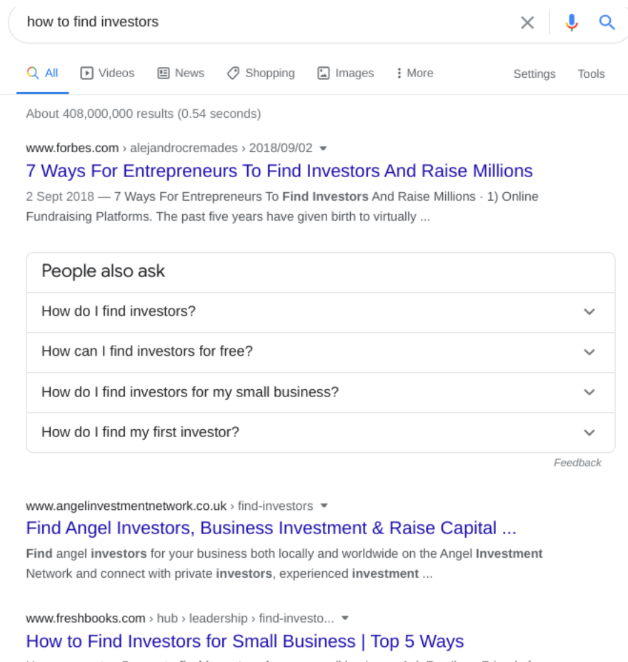 Search results for 'how to find investors'