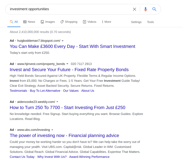 Search results for investment opportunities showing lots of ads