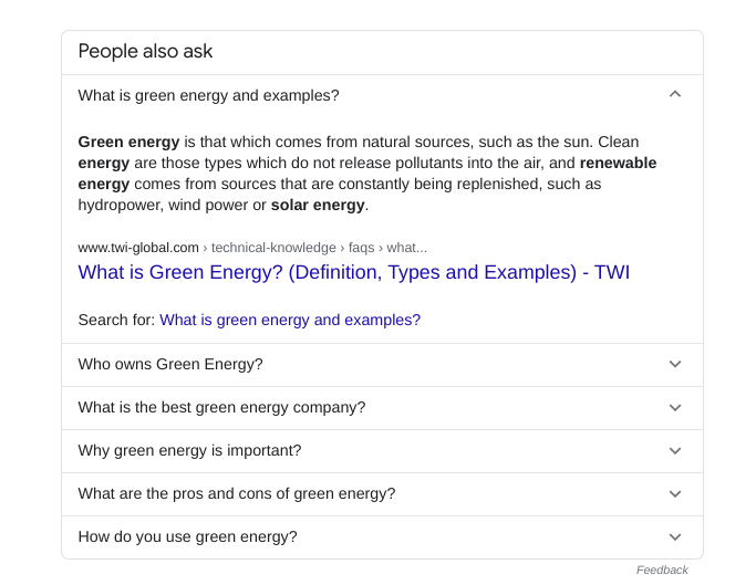The people also ask results for green energy