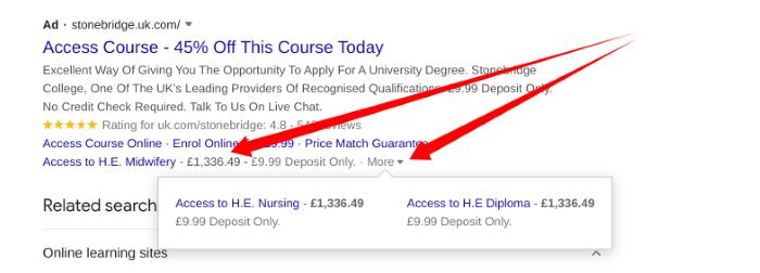Example price extension