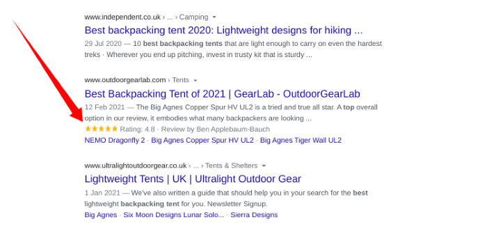 Search results showing seller ratings in the snippet