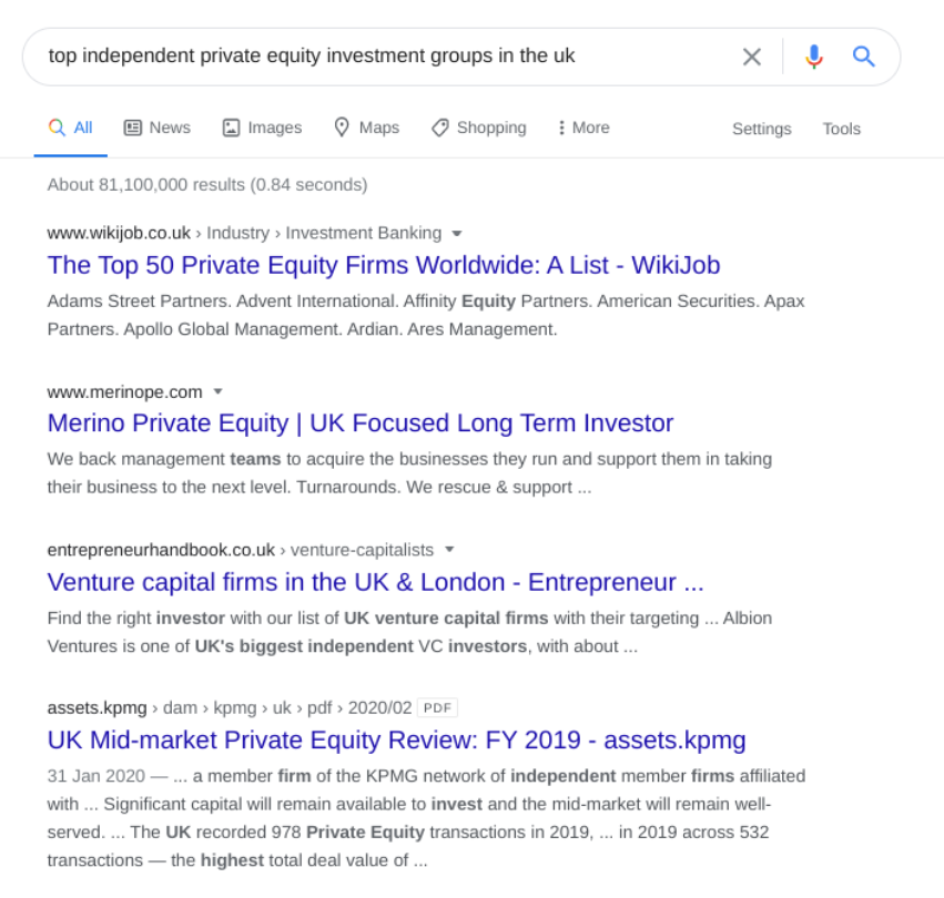 Search results for 'top independent private equity inivestment groups in the UK'