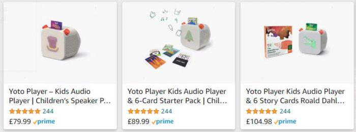 Amazon adverts for Yoto
