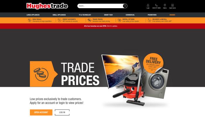 B2B eCommerce website Hughes Trade homepage