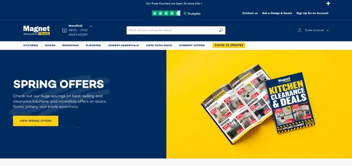 eCommerce B2B website Magnet homepage