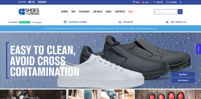B2B eCommerce website Shoes For Crews homepage