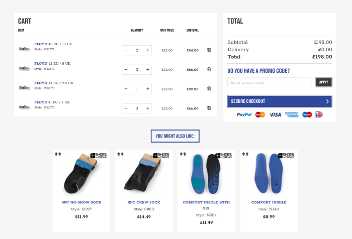 B2B eCommerce website Shoes For Crews checkout page
