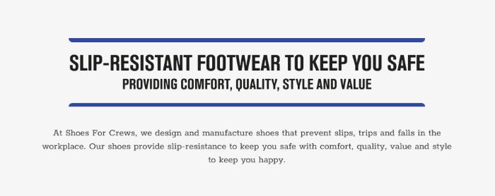 B2B eCommerce website Shoes For Crews website copy