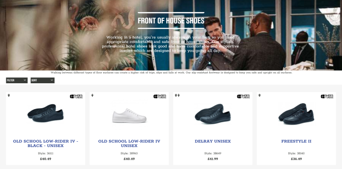 B2B eCommerce website Shoes For Crews search results