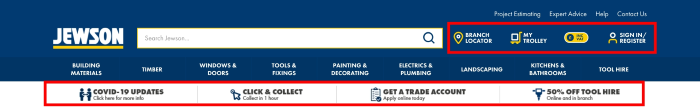 B2B eCommerce example showing Jewson website header