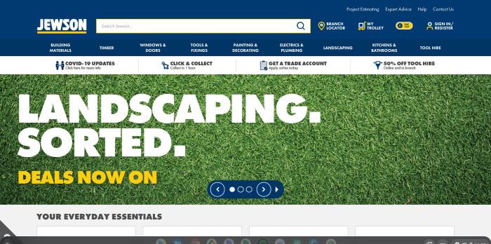 B2B eCommerce example showing Jewson homepage