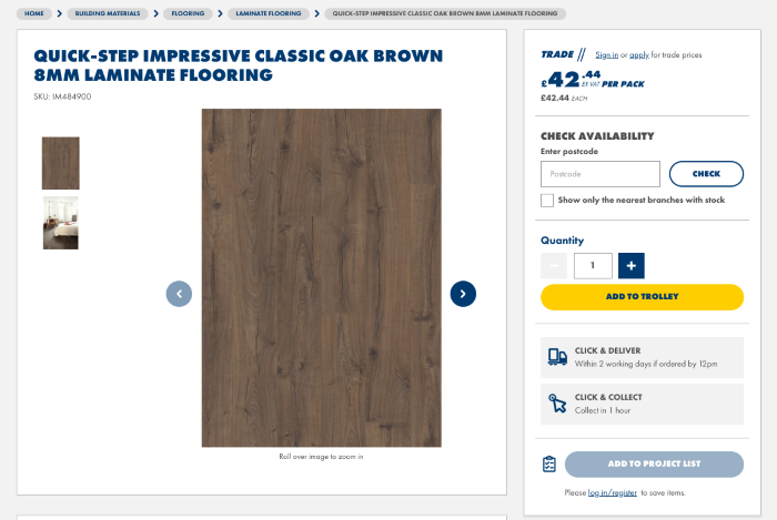 B2B eCommerce example showing Jewson product page