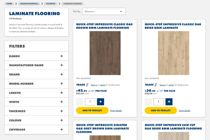 B2B eCommerce example showing Jewson search results