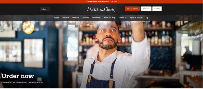 Matthew Clark B2B eCommerce website homepage