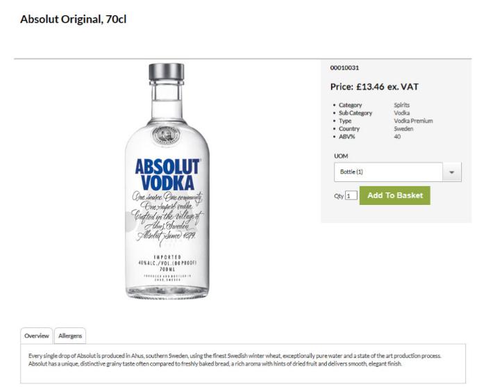 Matthew Clark B2B eCommerce product page