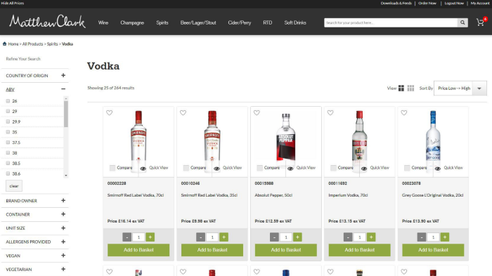 Matthew Clark B2B eCommerce search results