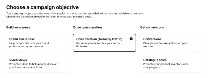 Choosing campaign objectives in Pinterest