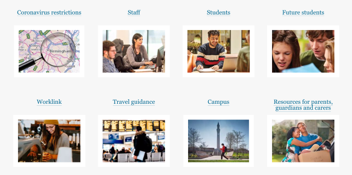 Example of COVID section on university website