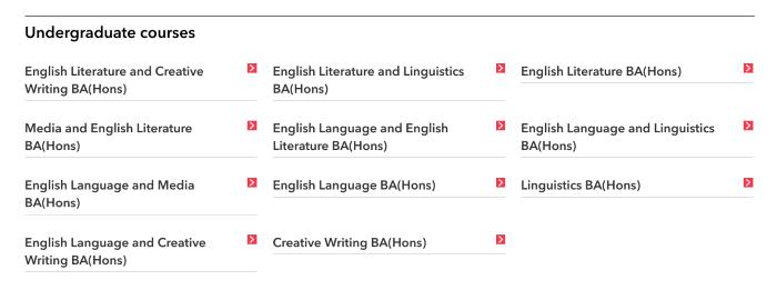 Course categories on Brighton University website