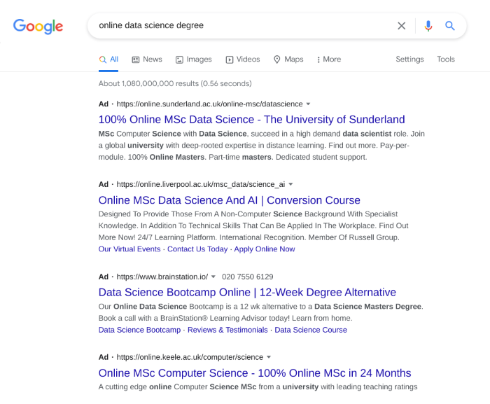 PPC results for online data science degree