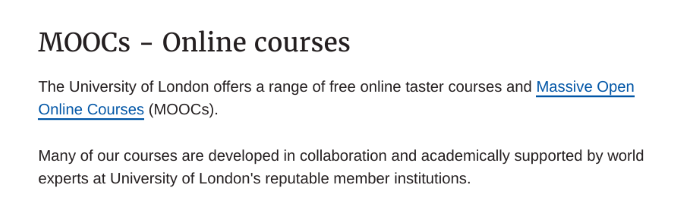 MOOCs - online courses advertised on the University of London