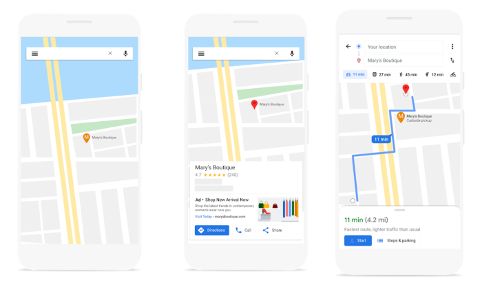 Example of local business on Google Maps