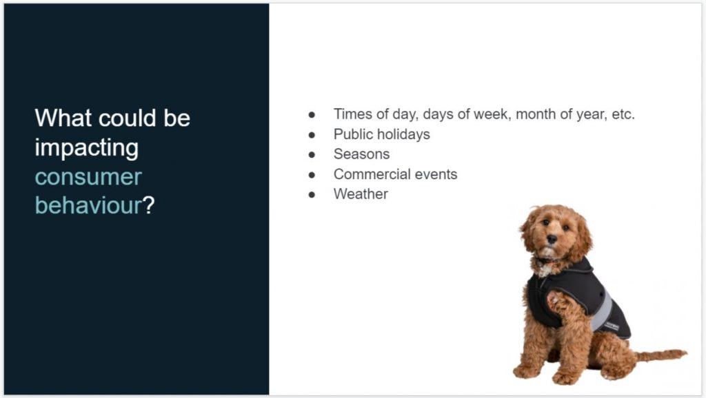 Factors that effect consumer behaviour such as times of day, events and weather