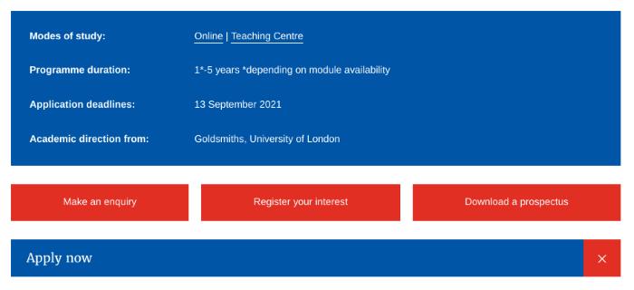 CTAs on the University of London website