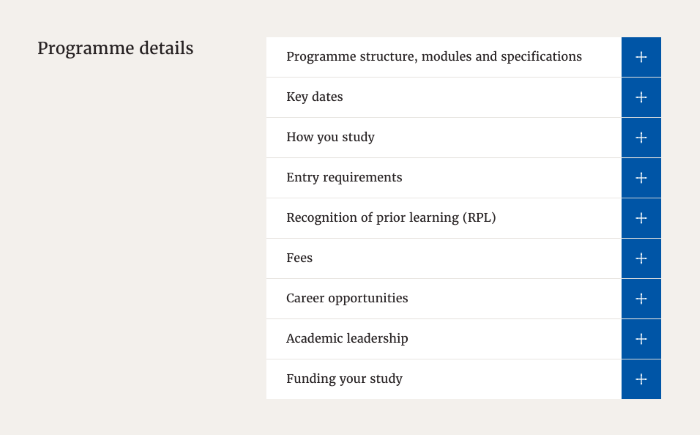 Course key information displayed such as key dates, costs, entry requirements etc