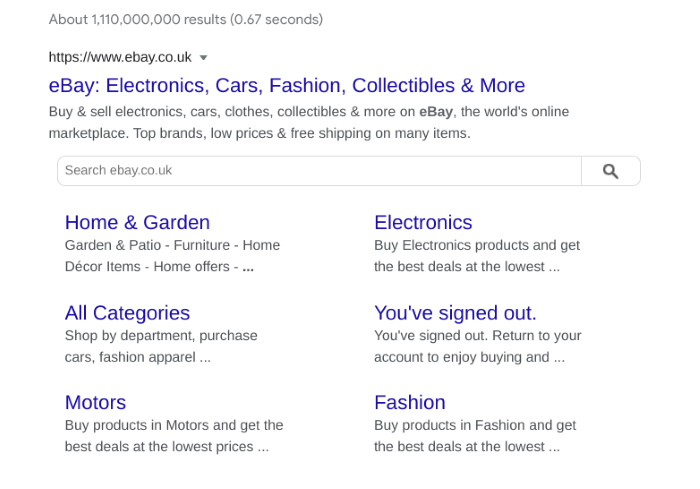 Example of Ebay's site links in the SEO listings