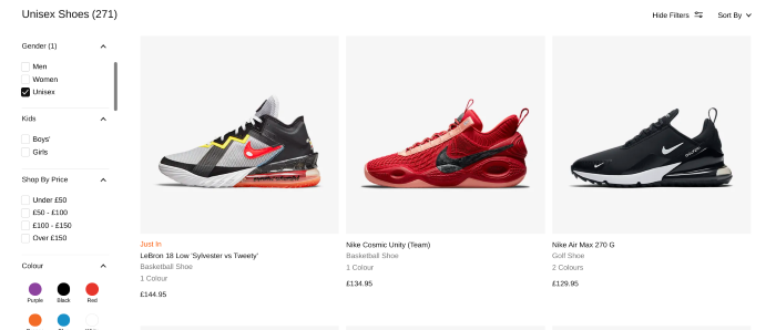 ecommerce search results on a website selling trainers