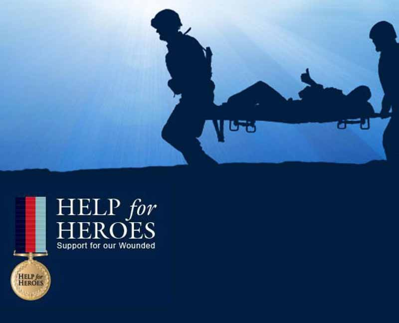 Help for Heroes image of two soldiers carrying a wounded soldier