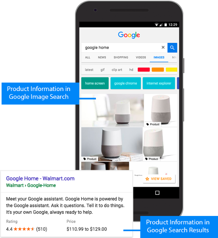 Example of Google showing rich information in the product listings for ecommerce sites selling Google Homes