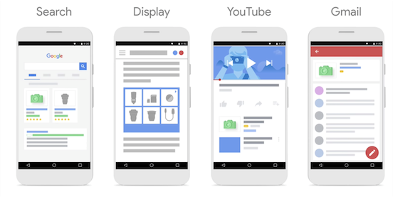 Examples of smart shopping campaigns: search, display, YouTube and Gmail