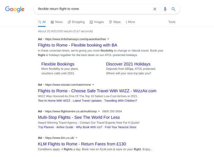 Search results and PPC ads showing for 'flights to rome'