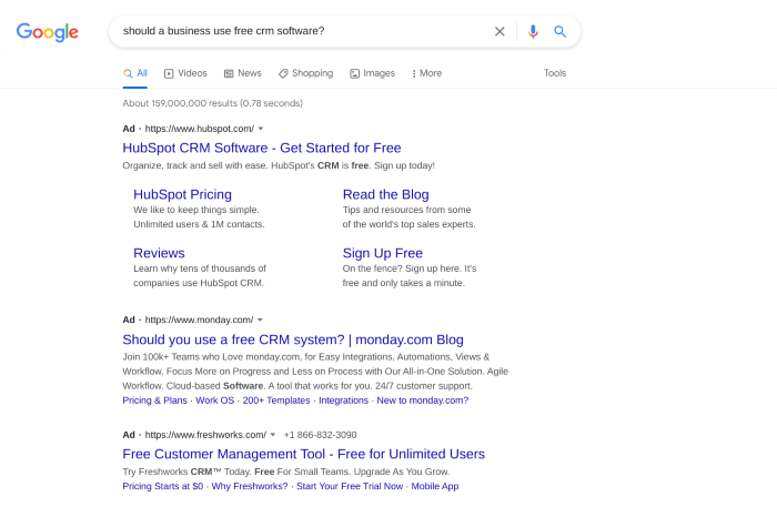 PPC ads showing for an informational query
