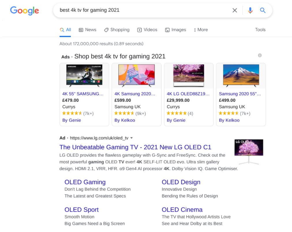 Search results showing PPC ads for best 4k tv for gaming 2021